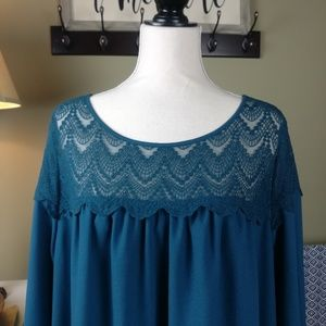 Ava & Viv Smock Dress Bell sleeve and Lace Top 2x